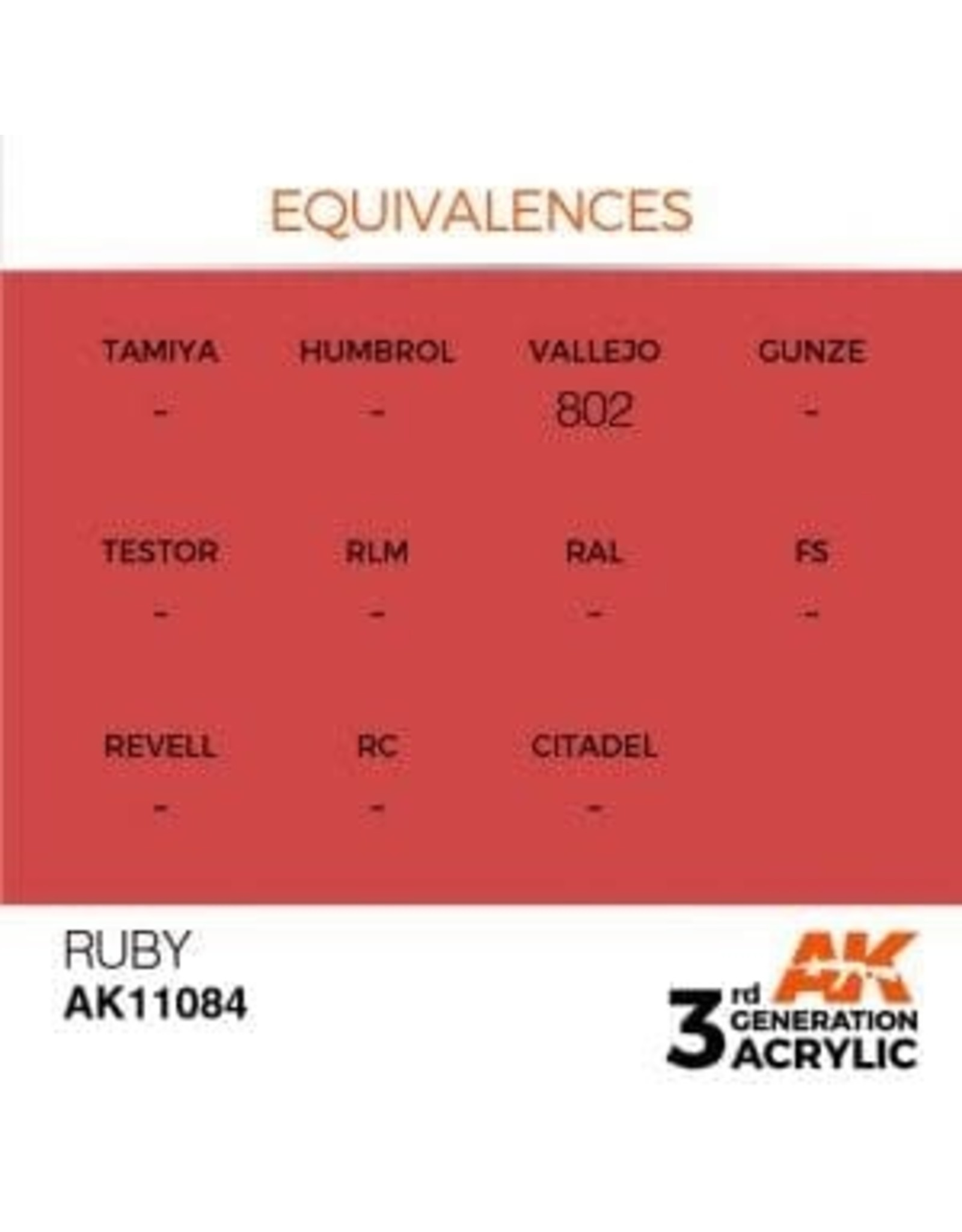 AK Interactive 3RD GEN ACRYLIC RUBY 17ML