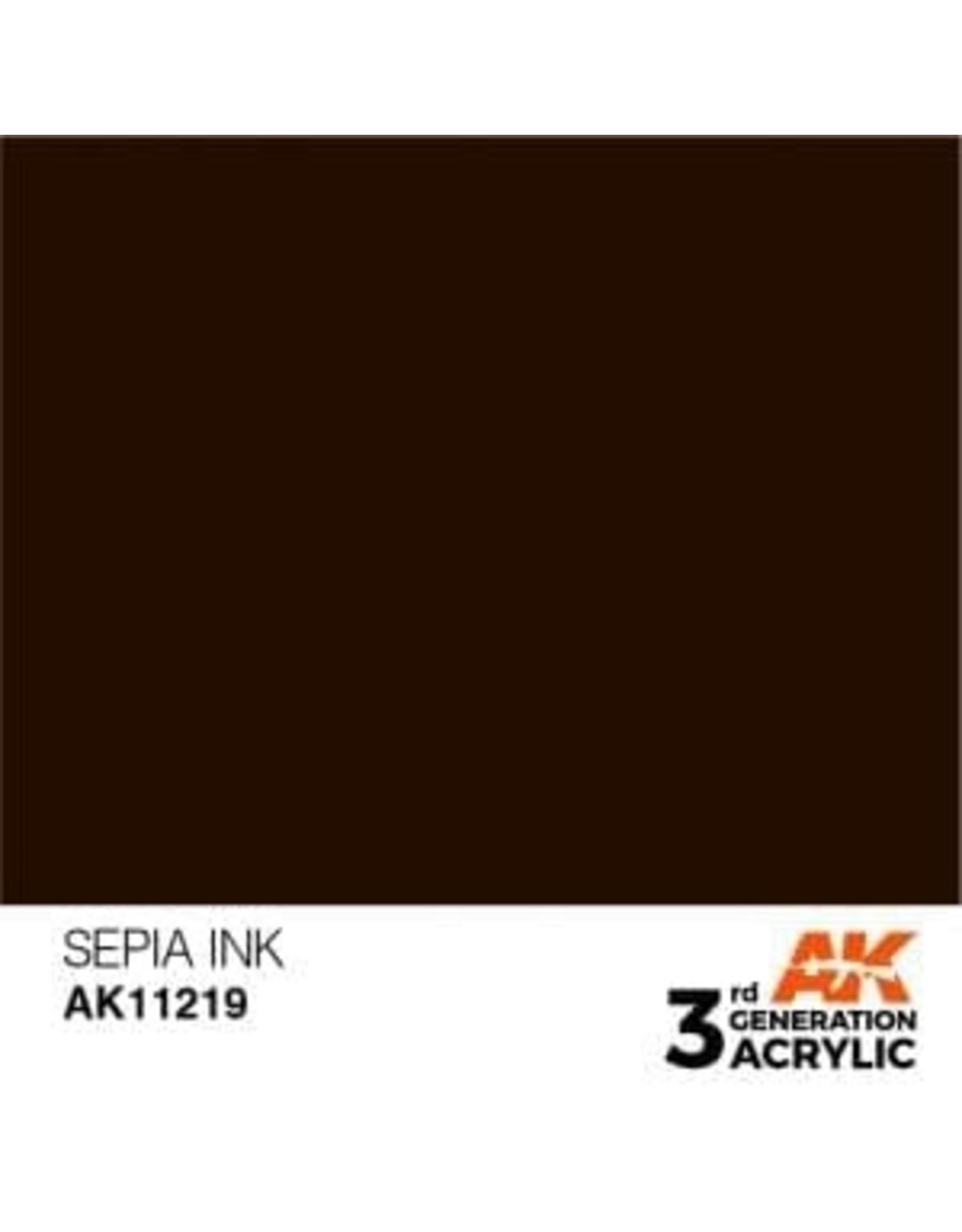 AK Interactive 3RD GEN ACRYLIC SEPIA INK 17ML
