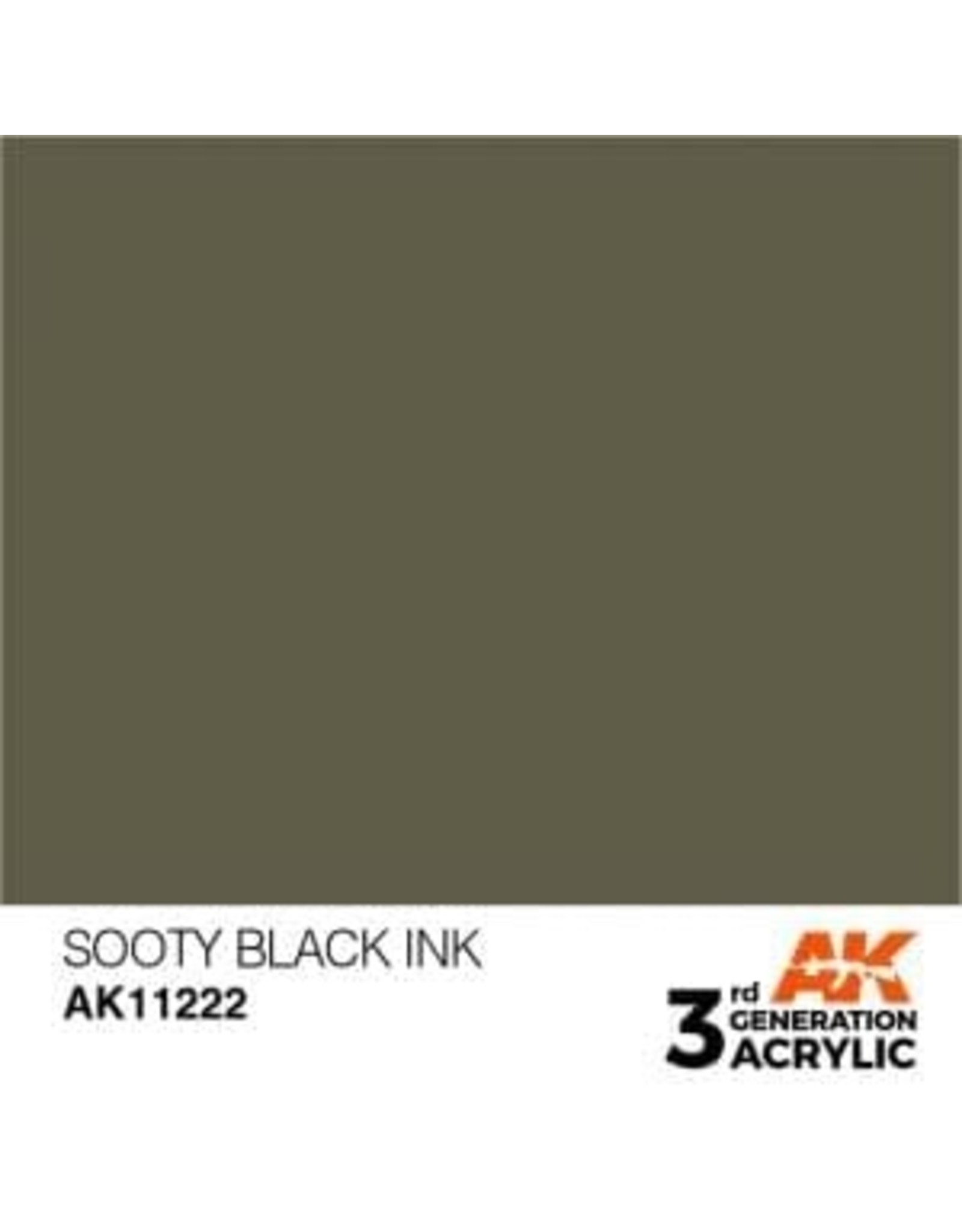 AK Interactive 3RD GEN ACRYLIC SOOTY BLACK INK 17ML