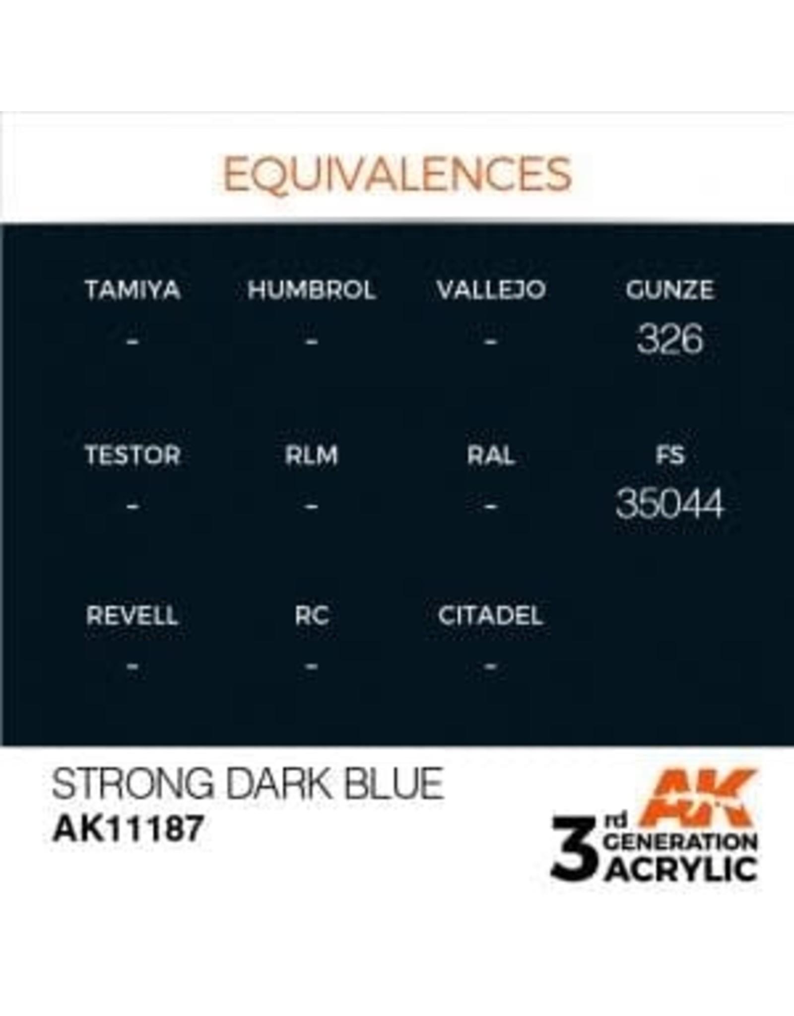 AK Interactive 3RD GEN ACRYLIC STRONG DARK BLUE 17ML