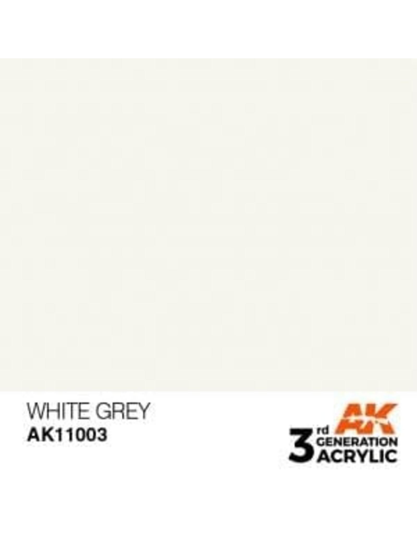 AK Interactive 3RD GEN ACRYLIC WHITE GREY 17ML
