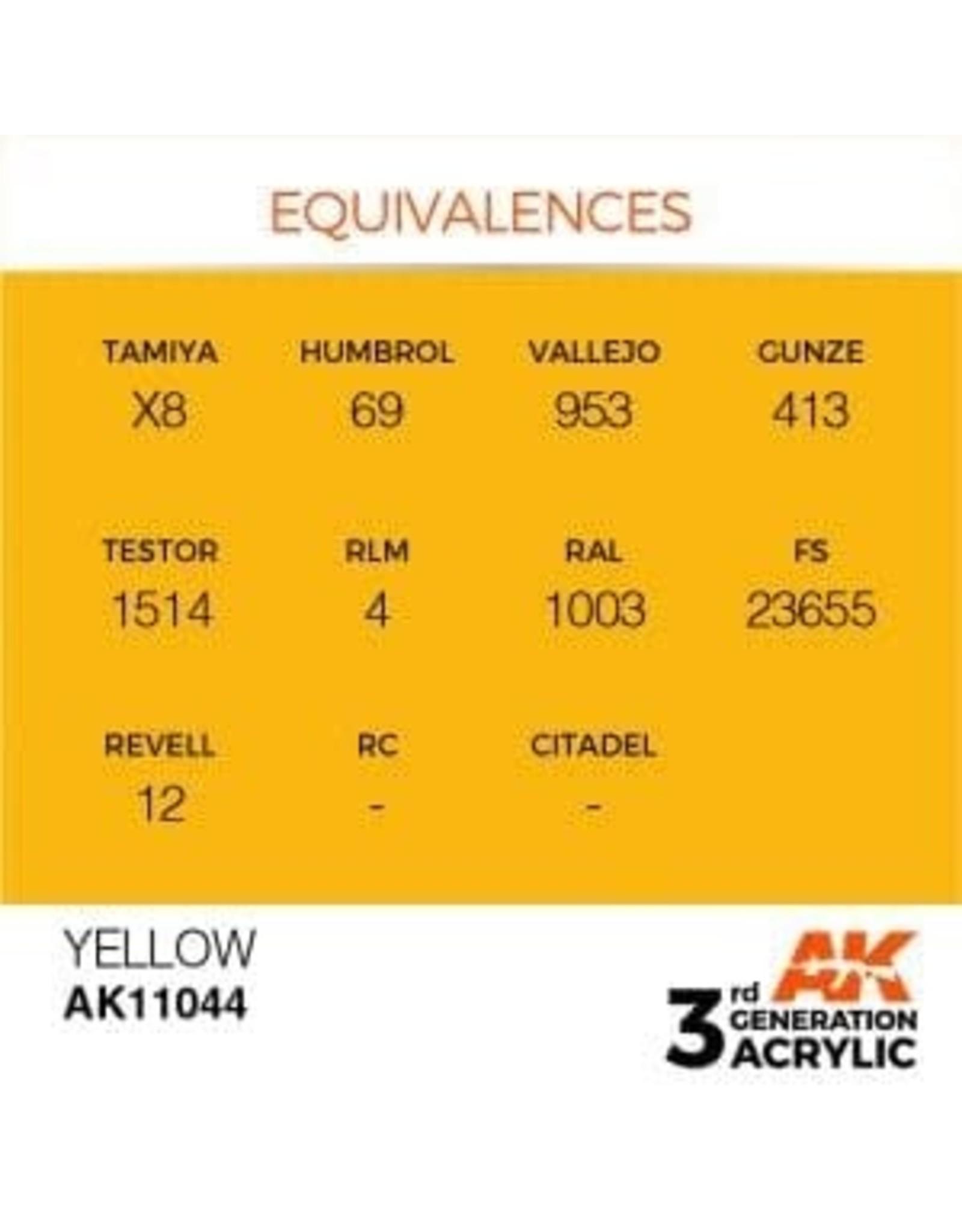 AK Interactive 3RD GEN ACRYLIC YELLOW 17ML