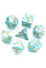 UdixiDice 7PC RPG DICE - BLUE TEXTURE TURQUOISE W/LEATHER DICE BOX