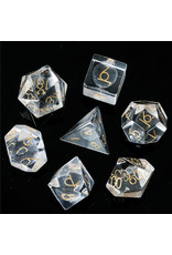 UdixiDice 7PC RPG DICE - GLASS 3D LASER ETCHED W/ LEATHER DICE BOX