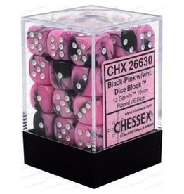 Chessex Gemini: 36D6 12mm Black-Pink/White