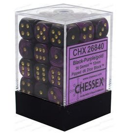 Chessex Gemini: 36D6 12mm Black-Purple/Gold