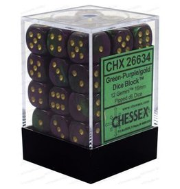 Chessex Gemini: 36D6 12mm Green-Purple/Gold