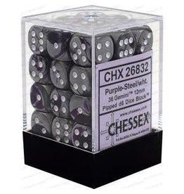 Chessex Gemini: 36D6 12mm Purple-Steel/White