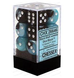 Chessex Gemini: 12D6 16mm Black-Shell/White