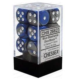 Chessex Gemini: 12D6 16mm Blue-Steel/White