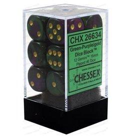 Chessex Gemini: 12D6 16mm Green-Purple/Gold