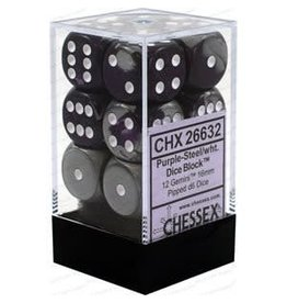 Chessex Gemini: 12D6 16mm Purple-Steel/White