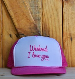 "Blueline Surf + Paddle Co. ""Weekend, I Love You"" Trucker Hot Pink\White\Hot Pink"