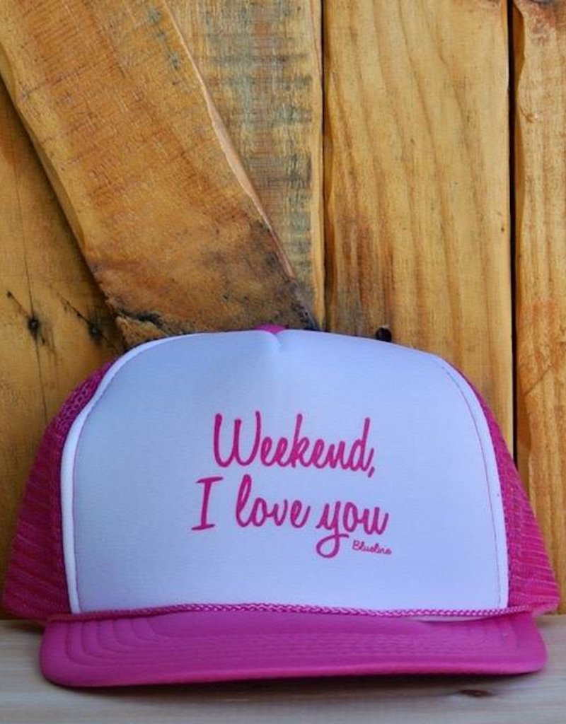 """Blueline Surf + Paddle Co. """"Weekend, I Love You"""" Trucker Hot Pink\White\Hot Pink"""