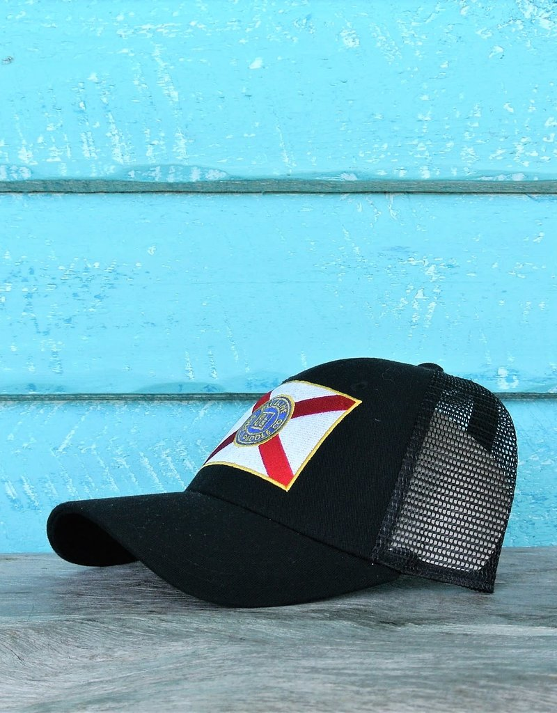 Blueline Surf + Paddle Co. Curved Florida Flag Black\Scarlet.Roy.Yel