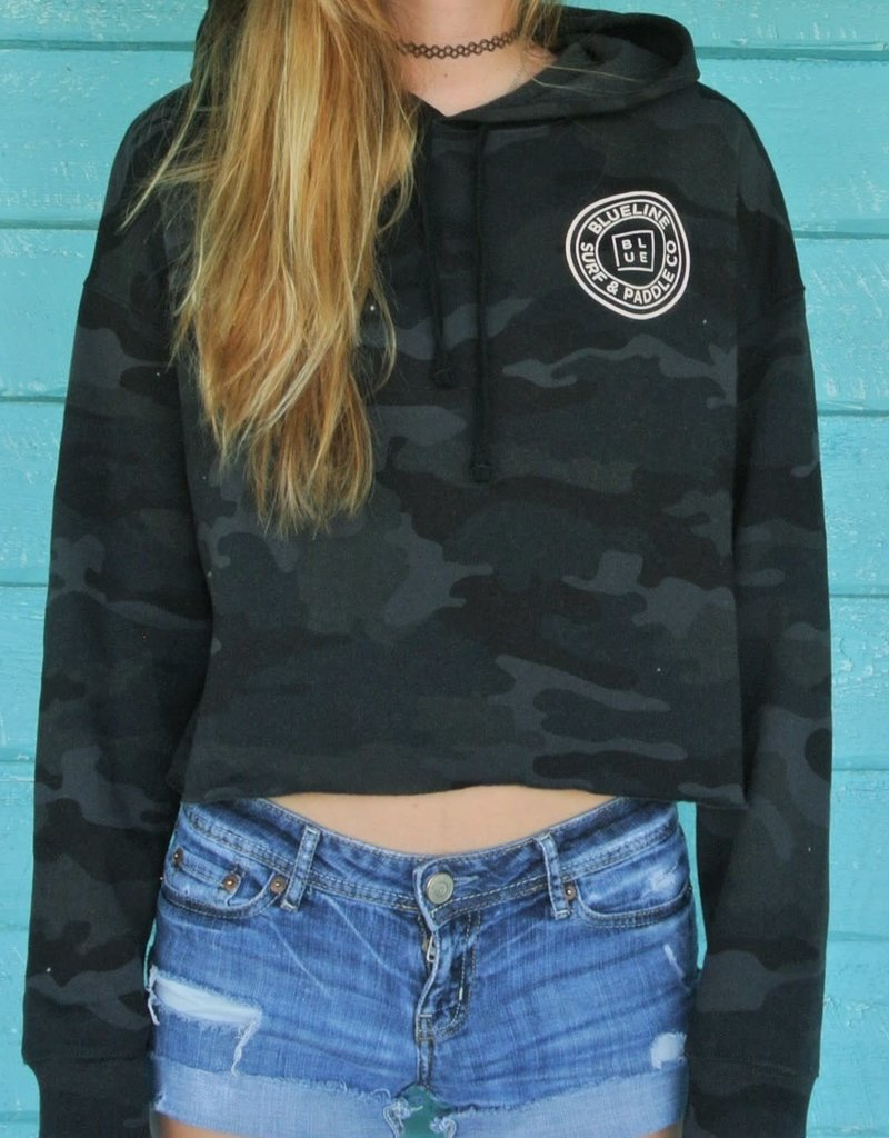 Blueline Surf + Paddle Co. Original Crop Hoodie Blk Camo