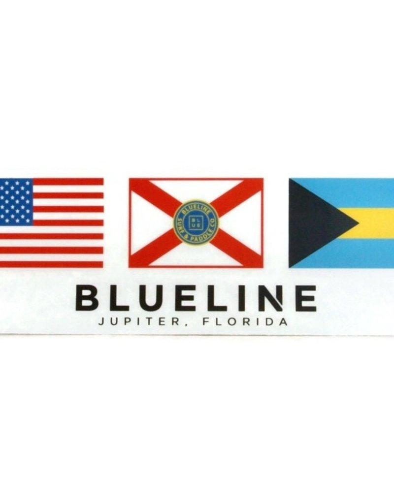 Blueline Surf + Paddle Co. Blueline 3 Flags USA Florida Bahamas  7.5 x 2.5