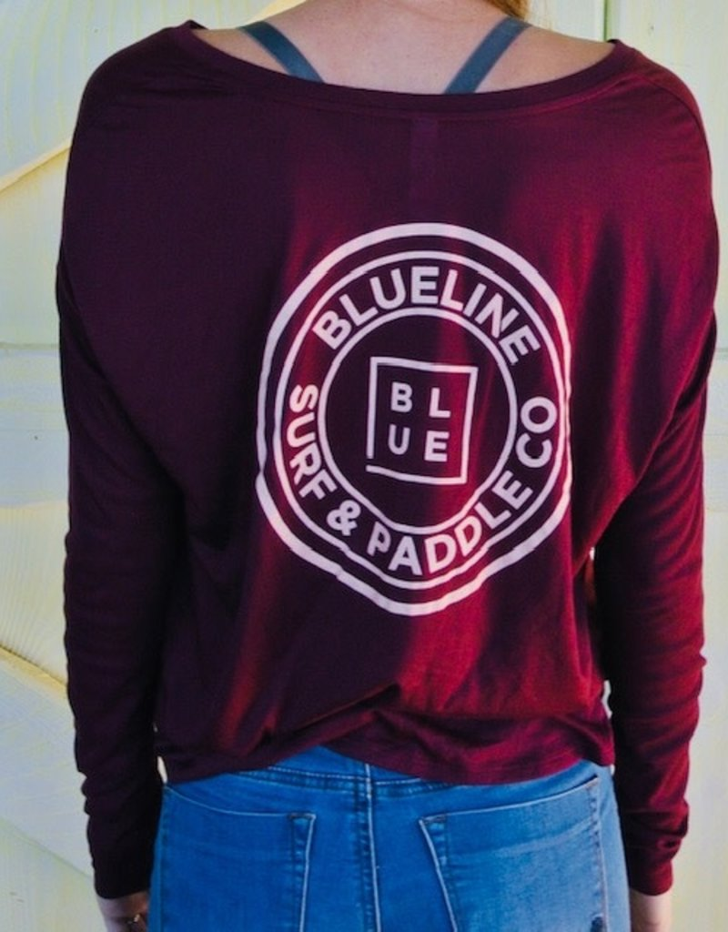 Blueline Surf + Paddle Co. Long Sleeve Original Maroon\Light Pink