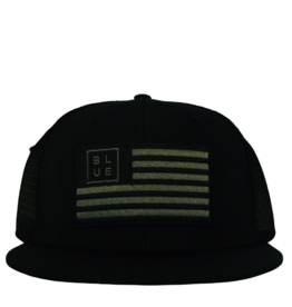 Blueline Surf + Paddle Co. USA Flag Flat UV LITE Hat Blacked Out
