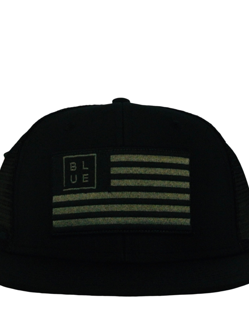 Blueline Surf + Paddle Co. USA Flag Flat UV LITE Hat Blacked Out