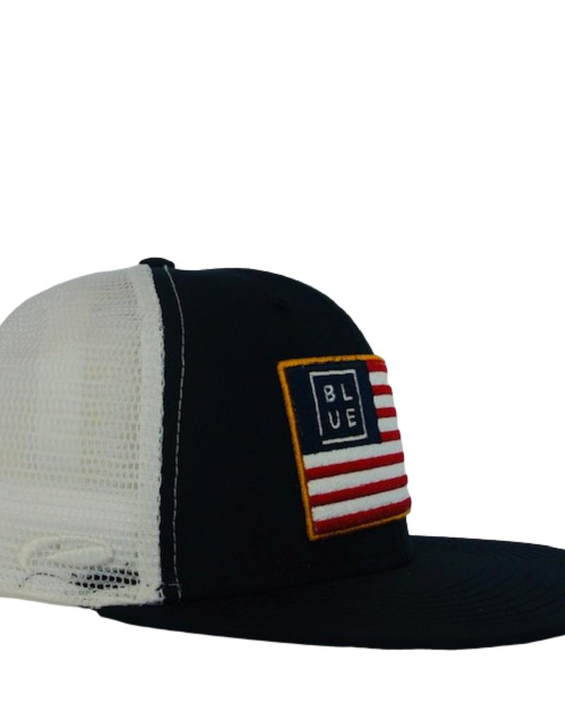 Blueline Surf + Paddle Co. USA Flag Flat UV LITE Hat Navy\White
