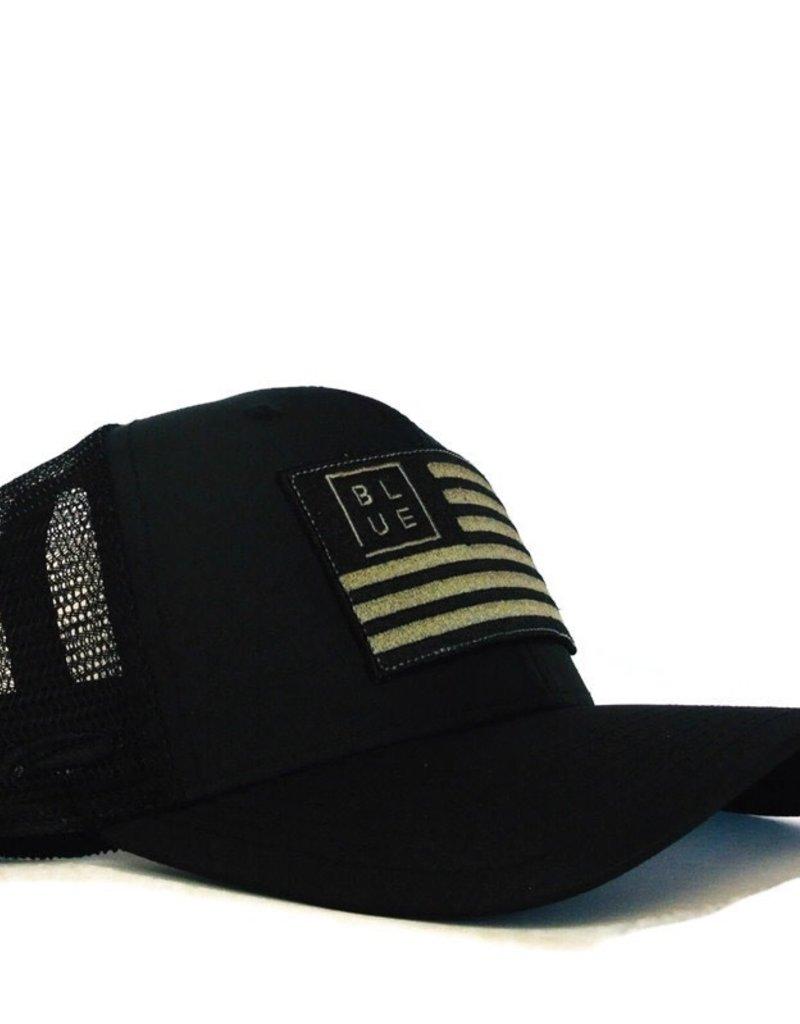 Blueline Surf + Paddle Co. USA Flag Curved UV LITE Hat Blacked Out