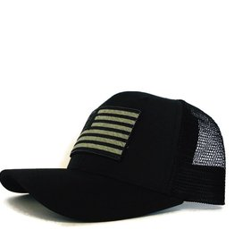 Blueline Surf + Paddle Co. USA Flag Curved UV LITE Hat Blacked Out
