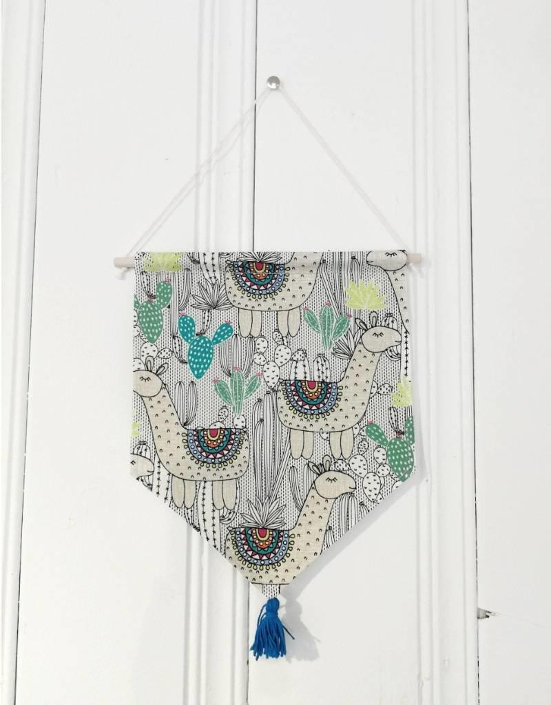 MLaure Fanion décoratif - Lama pompon bleu