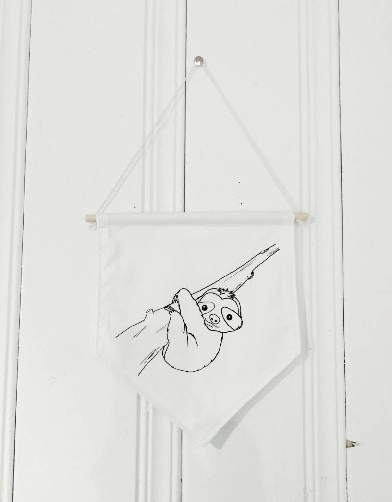 MLaure Fanion décoratif - Paresseux blanc