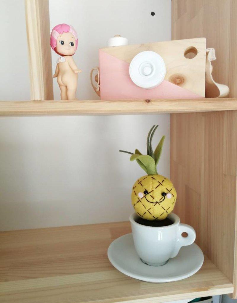 Pink Clémentine Tasse avec fruit en feutrine - Ananas
