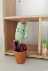 Pink Clémentine Cactus en feutrine - Moyen - Verte et prune