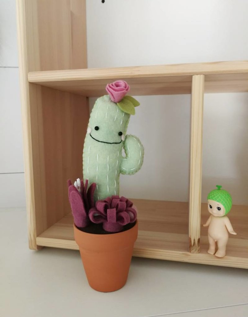 Pink Clémentine  Wool felt cactus - Medium - Green