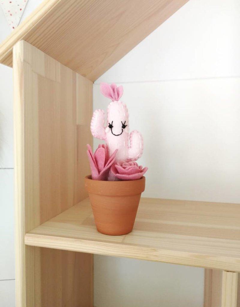 Pink Clémentine  Wool felt cactus - Pink and fushia