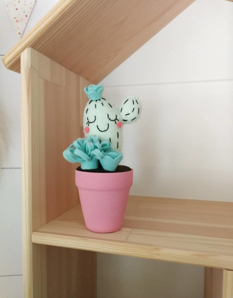 Pink Clémentine  Wool felt cactus - Mint and pink