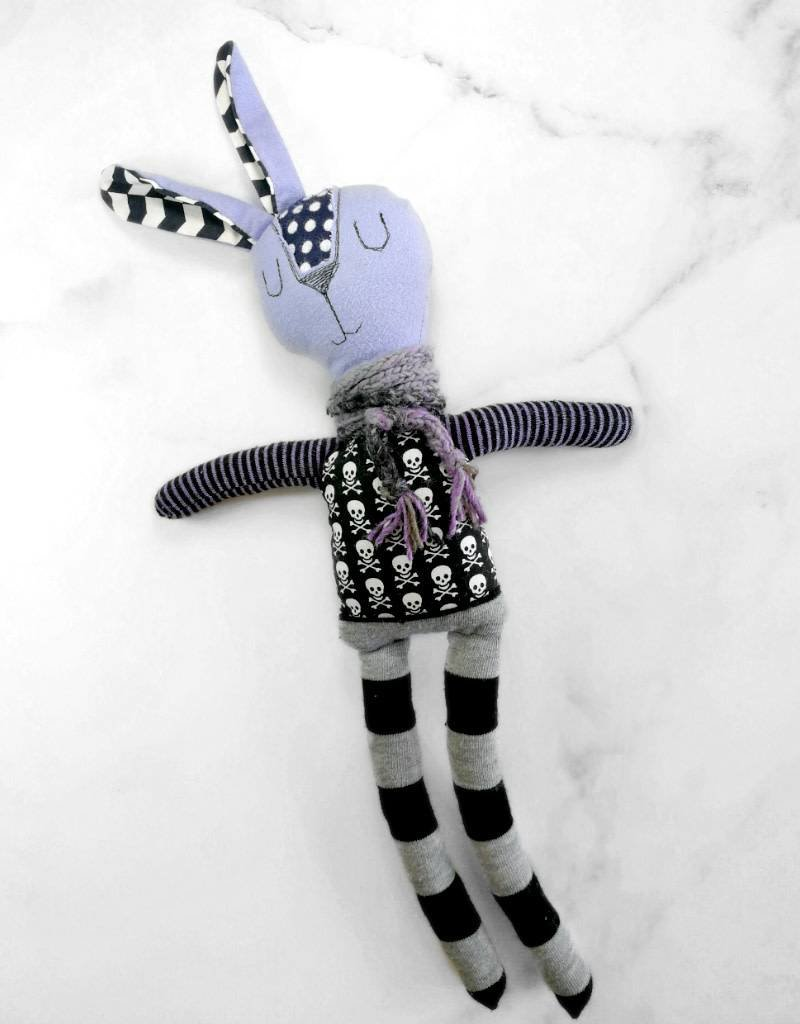 Créations Mirepoix Plush - Black and purple rabbit