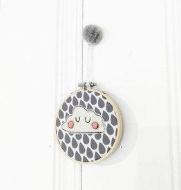Créations Mirepoix Décoration murale - Nuage fond gris - 4 pouces