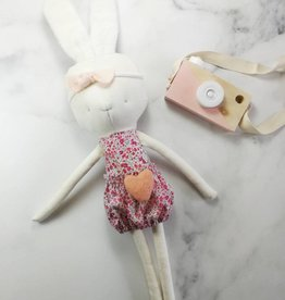 Kiou Kiout Peluche - Lapin blanc avec robe fleurie