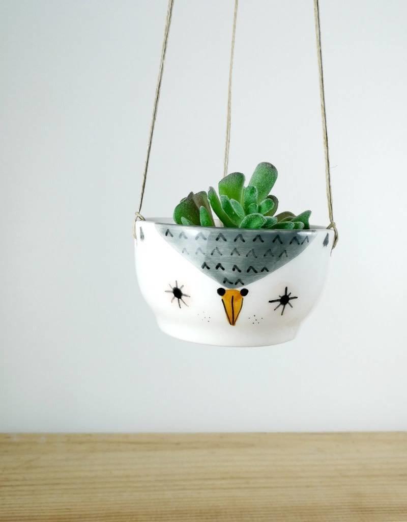 Noe Marin Ceramiste Céramique - pot suspendu pour plante - Hibou