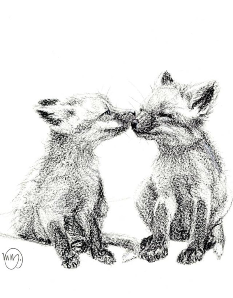 Le nid atelier Illustration - Kissing Foxes