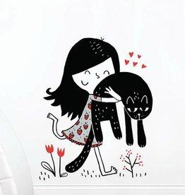 ADzif Autocollant mural - Elise Gravel - Fillette et chat