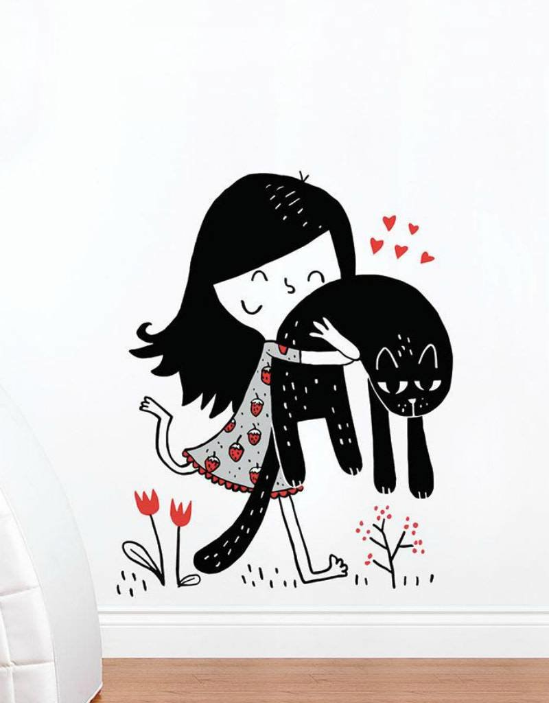 ADzif Wall decal - Elise Gravel - Girl with cat
