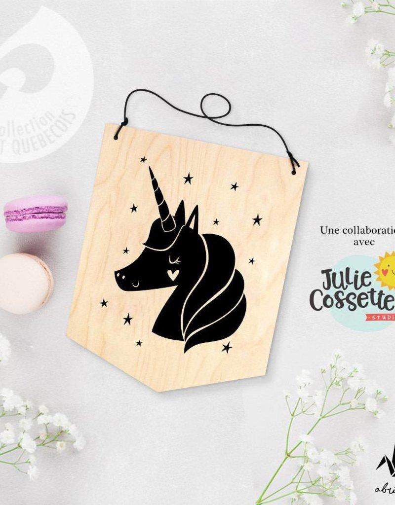 Abricotine Wooden Banner - Unicorn