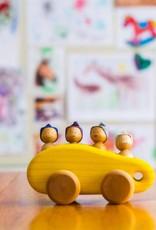 Atelier Cheval de bois Minibus en bois - Jaune