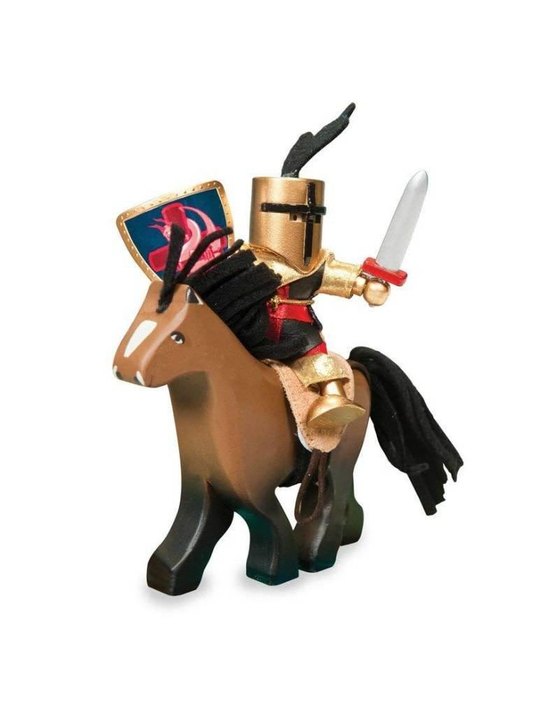 Le Toy Van Cheval brun en bois avec selle