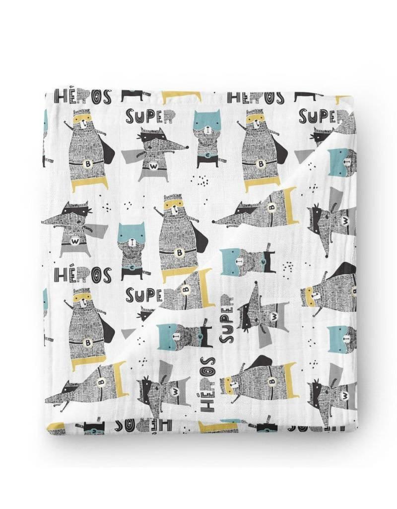 Olé Hop Bamboo blanket - Superhero animals