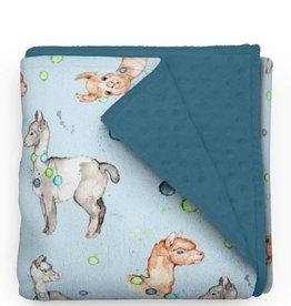 Olé Hop Minky Blanket -  Llamas and pompons