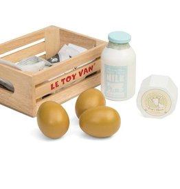 Le Toy Van Petit panier de produits laitiers en bois
