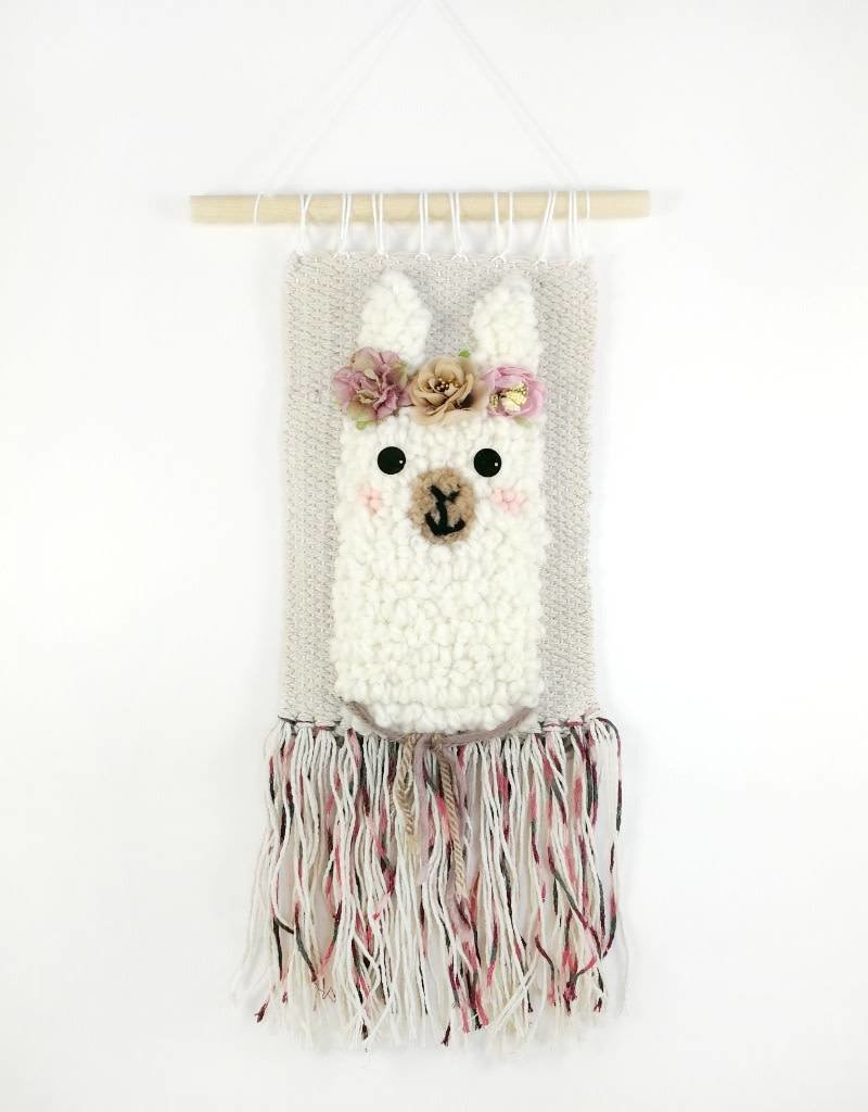 Sarah Wall decoration - Llama with pink flower