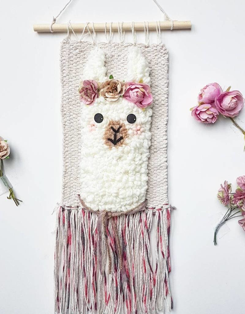 Wall decoration - Llama with pink flower