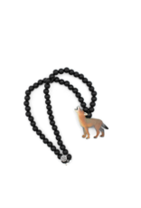 Wild Child Collier en bois noir - Loup